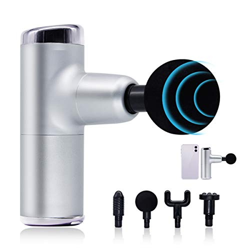 Massage Gun Portable Deep Tissue Massagers Muscle Professional Quiet Electric Fascial Gun with 4 Massage Heads, for Gym Office Home Outside(Silvery)