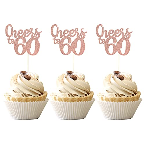 36 PCS Cheers to 60 Cupcake Toppers Glitter Number 60th birthday Cupcake Picks 60th Wedding Anniversary Birthday Party Cake Decorations Supplies Rose Gold