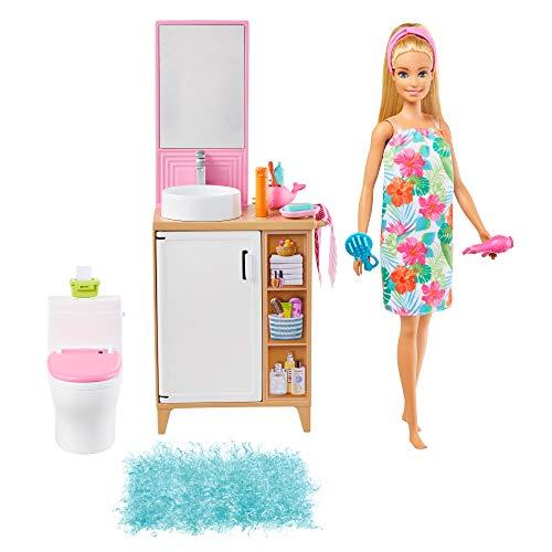 Barbie en casa Muñeca rubia con set de juguete de baño, con mueble de baño y accesorios de juguete (Mattel GRG87)
