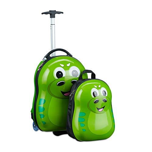 Relaxdays Kinderkoffer mit Rucksack, Drache, Mädchen & Jungen, Hartschale Reiseset Kinder, HBT 46 x 30 x 25 cm, grün