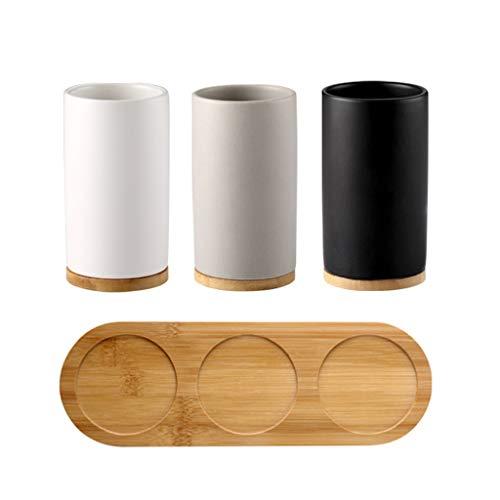 Porta Spazzolini Spazzolino Coppa Bagno Set da Cucina in Ceramica 4-Piece Bagagli Dispenser di Sapone Collutorio Coppa Vassoio di bambù Bagno Forniture Alberghiere MUMUJIN (Color : C)