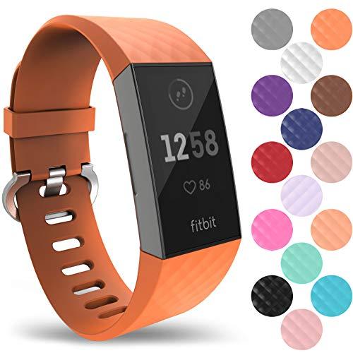 Yousave Accessories Armband Kompatibel mit Fitbit Charge 3 & 4 Armband, Silikon Ersatzarmband für Fitbit Charge3 / Charge4 Tracker, Sport Armband, Fitbit Charge 3 & 4 Armbänder - Groß - Orange