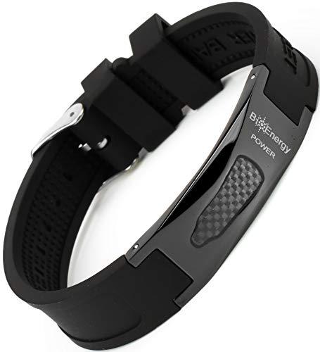 Magnetisches Armband aus Silikon mit Jade Turmalin und Kupfer Titan Stahl Power Magnet Gesundheit Energie Germanium 7in1 – Schwarz, Größe – verstellbar