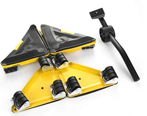5 uds., Transporte de muebles, elevador, herramienta, herramienta para mover, material pesado, juego de herramientas de mano en movimiento, 4 ruedas, rodillo, ayudante para muebles, tipo C, amarillo