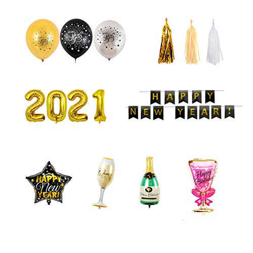 jieGorge 2021 New Year Decoration Set, Effect for 2021 Eve Party Decor Supplies, Decoration & Hangs for Easter Day (Multicolor)