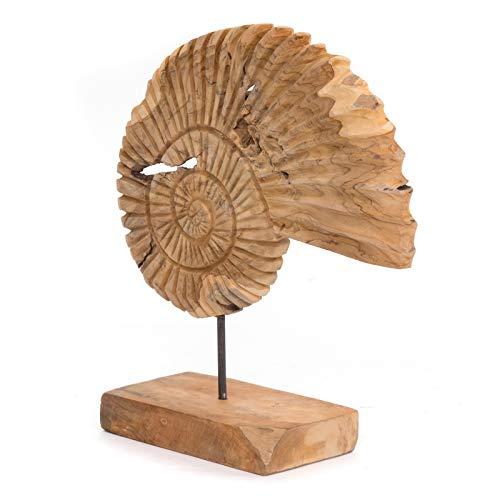 HOLZSKULPTUR SEEMUSCHEL 45   Recyclingholz, 45x45x15cm (HxBxT)   rustikale Dekoration im Muschel Design, Holzfigur mit Standfuß