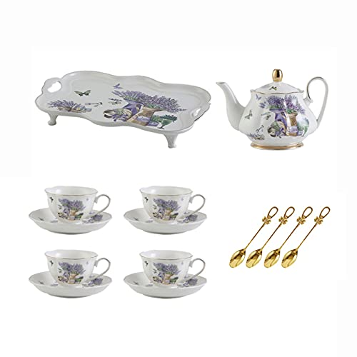 ErZhuiZi Juego de Té de Porcelana Clásico Juego de Taza y Platillo de Té Servicio de Café para 4, con Estampado de Flores de Lavanda para el Hogar