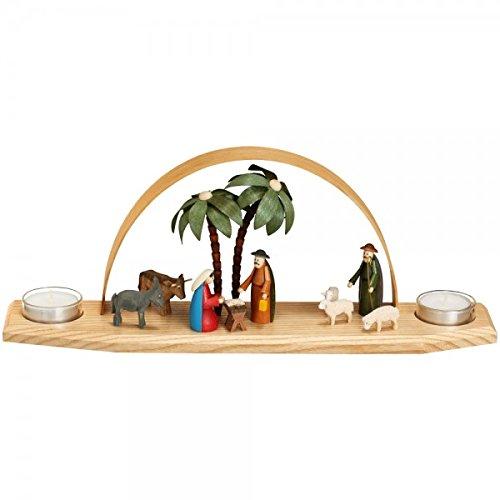 Lichtboog raamdecoratie kaarsboog - theelicht Christi geboorte - kleurrijk, klein met oker & ezel hoogte ca. 14 cm NIEUW