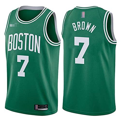 YZQ Jerseys De Baloncesto para Hombre, NBA Boston Celtics # 7 Jaylen Brown - Camiseta Clásica De Ropa Sin Mangas Sin Mangas, Tops De Uniformes De Tela Confort,Verde,XXL(185~195CM)