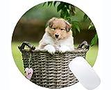 Yanteng Cojín de ratón Redondo de Goma Natural Impreso con Cesta para Mascotas Collie Collie Dog - Bordes cosidos