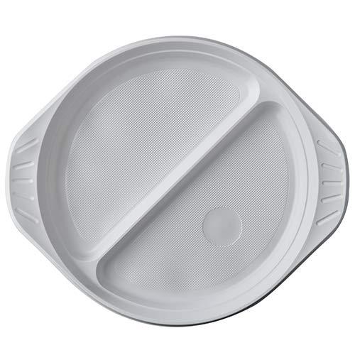 PAPSTAR 100 Menü-Teller, PP 2-geteilt Ø 21,9 cm · 2,6 cm Weiss mit Anfasser, Sie erhalten 4 Packungen á 100 Stück (insgesamt 400 Stück)