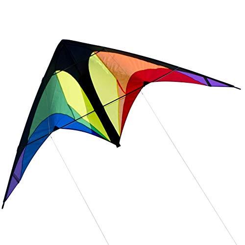 CIM Lenkdrachen - Power Hawk Rainbow - für leichten bis kräftigen Wind - Abmessung: 155x75cm - inkl. Steuerleinen auf Winder mit Schlaufen (Rainbow)