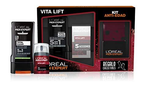 L'Oréal España Men Expert Pack de Ducha Vitalift para Hombre, Incluye Gel de Ducha Total Clean 5 en 1 y Crema Hidratante Antiedad Vitalift, Calcetines de Regalo, Negro/Rojo, 390 Gramos