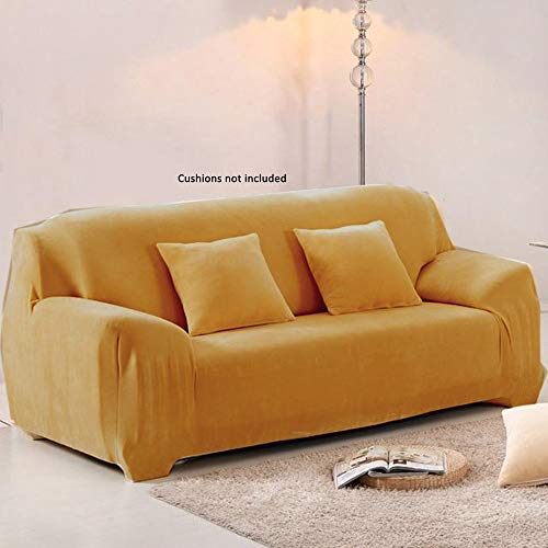 Coozly Lancom Stretchable Velvet Slip Covers for Sofa (2 Seater, Golden Beige)