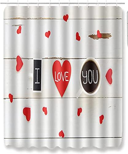 Schimmel Proof Stoff Liebe Herz Buchstaben Duschvorhang Für Bad Wasserdichter Badvorhang Badvorhang Mit 12 Haken