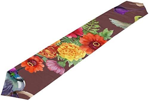 Bolso de Hombro para Hombre con Flores y pájaros Coloridos, Bolsos de niña pequeña para Bolso, Camino de Mesa, decoración Interior, 13 * 70 Pulgadas,13 * 70in