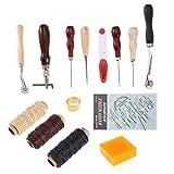 EXCEART 14 Piezas de Herramientas de Costura de Cuero con Borde Biselado de Corte Biselado de Cuero Skiver Hilo Diy Kit de Costura Manual para Coser Lienzo de Cuero