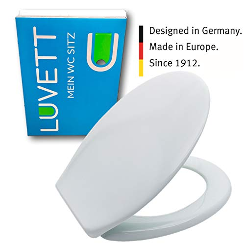 LUVETT WC-Sitz C200 oval mit EasyFix® Steckscharnier (Bequeme, stabile Befestigung von oben), Duroplast Toilettendeckel, Farbe:Ägäis
