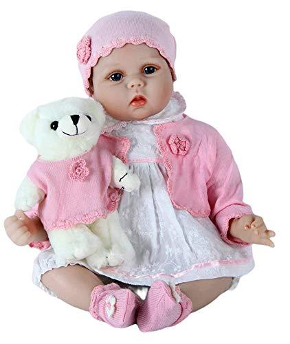 ZIYIUI Muñeca Reborn 55 cm 22 Pulgadas Hecho a Mano Vinilo de Silicona Suave Ojos Abiertos Reborn Doll Realiista Bebé Recién Nacido Chica Juguete Magnético