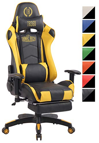CLP Chefsessel Turbo XFM Kunstleder mit Massagefunktion l Höhenverstellbarer Bürostuhl mit ausziehbarer Fußablage und beheizbarem Sitzbereich schwarz/gelb