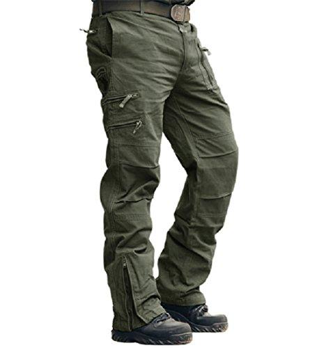 MAGCOMSEN - Pantalones de trabajo para hombre (algodón, talla 30-38), Hombre, Verde militar, 38