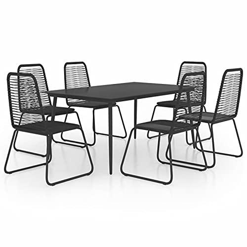 Ksodgun Set de Comedor de jardín de 7 Piezas Set Muebles de Jardin Muebles Exteriores PVC ratán Negro