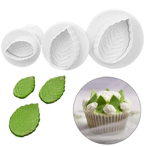 Rose Leaves Fondant Pastry Cutter Sweetly Does It Fondant Cutter Set for Cake Decorating, Leaf Moulds, Pack of 3