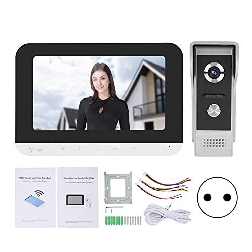Videoportero Wifi con cable de 7 pulgadas, sistema de intercomunicación inteligente con videoportero, intercomunicador con videoportero y cámara de visión nocturna(EU)