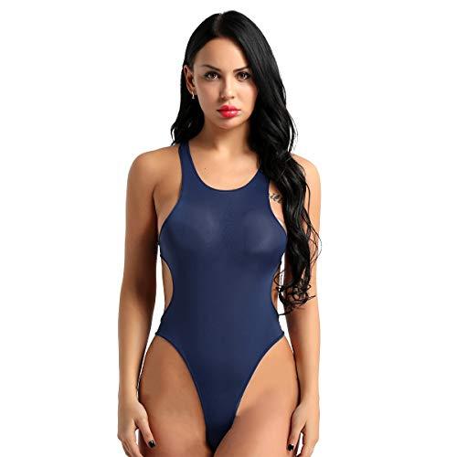 YiZYiF Damen Einteiliger Badeanzug Transparent Bikini Monokini Schwimmanzug Ärmellos Rückenfrei Dessous Thong Bodysuit Leotards Dunkelblau One Size