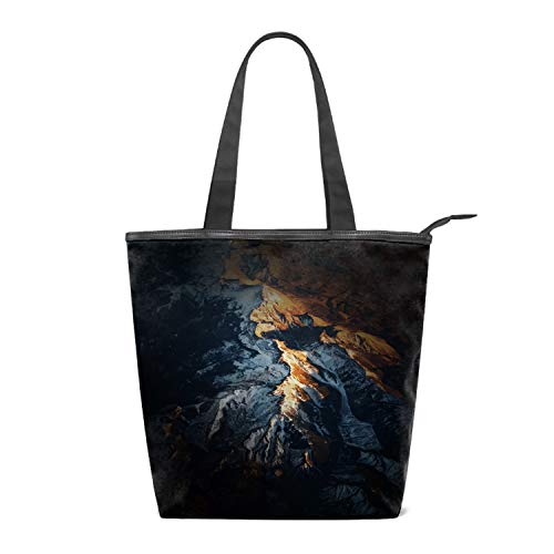 Women's Canvas Zipper Closure Handbag Mountain Range Handbags Shoulder Lunch Tote Bag with Large Capacity Best Gifts for Teen Girls