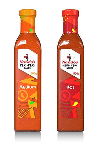 Nando's PERi-PERi Spicy Variety Pack - Flavorful Medium and Hot Sauce Bundle | Gluten Free | Non GMO | Kosher -17.6oz Bottle (2 Pack)