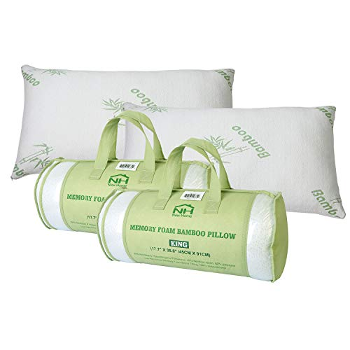 iMounTEK Bamboo Rayon Breathable Hypoallergenic Memory Foam Pillow with Washable Pillow Case, Premium Pillows for Sleeping – Back/Stomach/Side Sleeper, Bamboo Cooling Bed Pillows (King Size)(2-Pack)