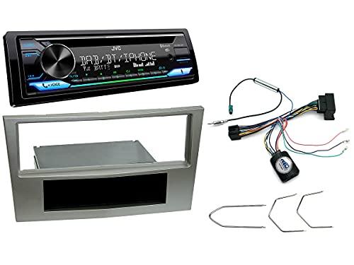 NIQ Autoradio Einbauset geeignet für Opel Antara | Astra | Corsa | Zafira inkl. JVC KD-DB912BT DAB+ & Lenkrad Fernbedienung Adapter in Satin Stone