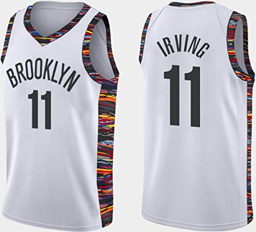 WSUN Jerseys para Hombres NBA Brooklyn Nets # 11 Kyrie Irving Baloncesto Jersey Vintage Cool Tejido Transpirable All-Star Unisex Fan Uniform,A,XL(180~185CM/85~95KG)