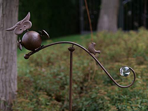 Thermobrass Windspiel XXL Wippe Gartendeko Gartenstecker Figur Außendeko Gartenfigur Vogel Eule Uhu Kautz aus Metall - Handarbeit - 130 x 10 x 50 cm