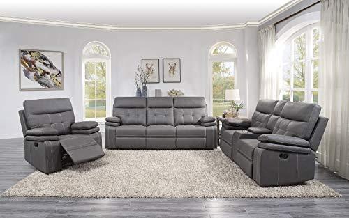 Lexicon 3-Piece Manual Reclining Sofa Set, Gray