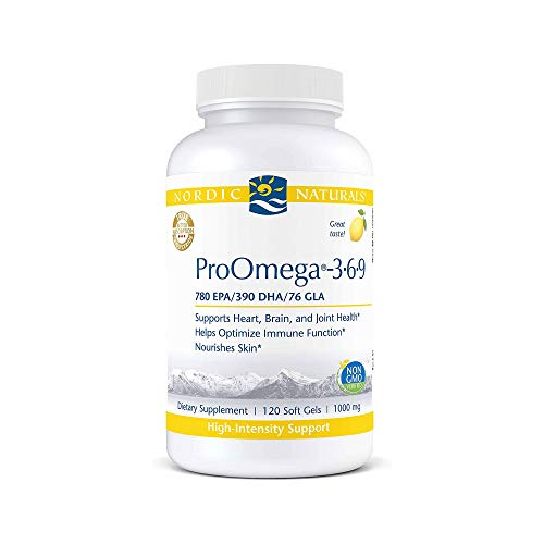 Nordic Naturals ProOmega 3-6-9, Lemon Flavor - 1360 mg Omega-3-120 Soft Gels - EPA & DHA with Added GLA - Healthy Skin & Joints, Cognition, Positive Mood - Non-GMO - 60 Servings