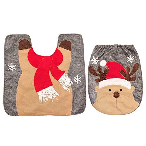 MOTOULAX - Set di copriwater e tappeto per Natale, Babbo Natale, pupazzo di neve e alce, decorazioni natalizie per bagno, WC