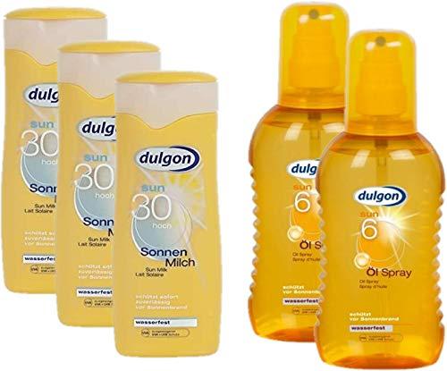 dulgon Sonnencreme Sparset Urlaubspack 3xLSF30 Sonnenmilch 250ml + 2xLSF6 Öl-Spray 200ml