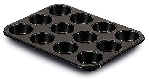 Guardini Gardenia, Plaque à 12 muffins 27 x 35 cm, acier avec revêtement anti-adhérent, couleur noire