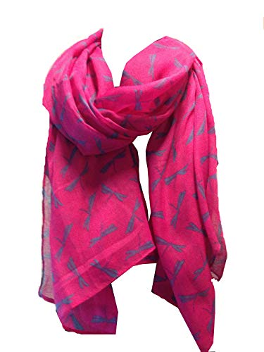 Pamper Yourself Now Fuschia Rosa mit blauen Libelle Schal -Fuschia pink with blue dragonfly scarf