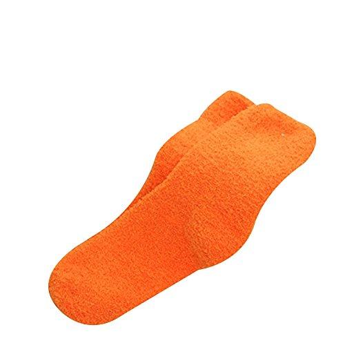 Bodhi2000 Damen Casual Warme Socken Weiche Dicke flauschige Kuschelsocken Socken (orange)