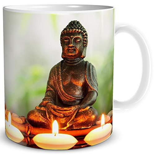 TRIOSK Tasse Buddha mit Spruch lustig Problemlösung Geschenk für Arbeit Büro Wellness Entspannung Frauen Freundin Kollegin Geburtstag