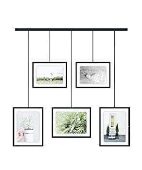 Umbra Exhibit Picture Frame Gallery Set Adjustable Collage Display for 5 Photos Prints Artwork & More  Holds Two 4 x 6 inch and Three 5 x 7 inch Images  5 Opening Black