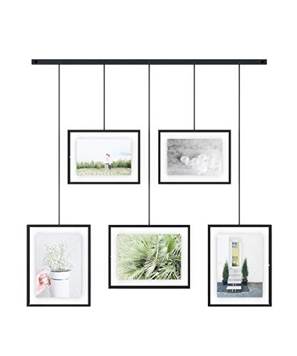 Umbra Exhibit Picture Frame Gallery Set Adjustable Collage Display for 5 Photos, Prints, Artwork & More (Holds Two 4 x 6 inch and Three 5 x 7 inch Images), 5 Opening, Black