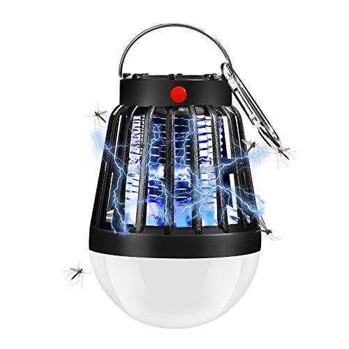 Moskito Killer Lampe, Camping Laterne Mückenstopper, Solar und USB Power Insektenvernichter Zelt Licht für Outdoor/Garten/Camping/Reisen/Rucksackreisen