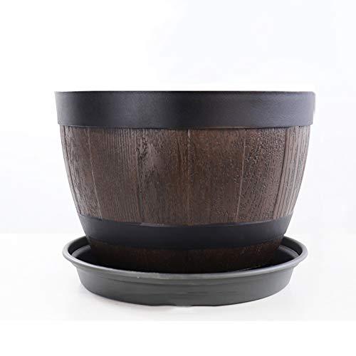 Thwarm Imitazione di legno Barile Design Fiore Pot Resina imitazione del barilotto di vino Retro Planter creativo di plastica verde Grande Vaso di fiori con fori di drenaggio sul fondo di Piante Fiori