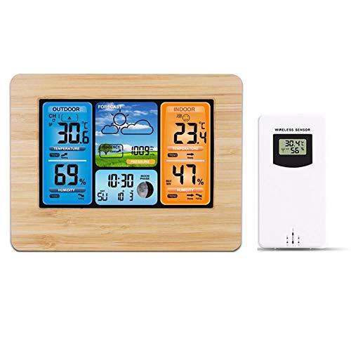 FPRW Kleurrijke Digitale Klok, Weerstation Weersverwachting Lcd Display Alarm Klok, Eenvoudig Bediening Wandbureau Tafelklokken, Houten