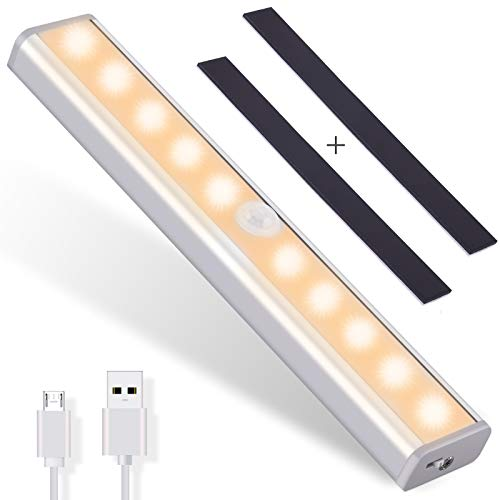 OUSFOT Closet Light, Under Cabinet Lighting 10 Led Motion Sensor Light Indoor USB Rechargeable Wireless Stick up Anywhere with 2 Magnetic Strips for Wardrobe/ Cupboard/ Garage/ Wall (1 Pack)