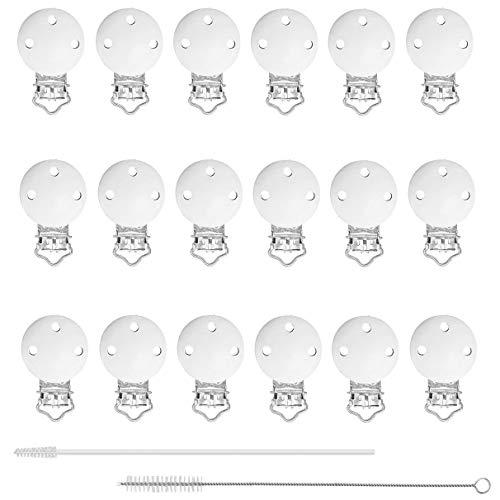 18 Stücke Holz Schnuller Clip, Baby Schnuller Clips,44mm Holz Schnullerketten Clips für Baby und Kind + 2PCS Flasche Reinigungsbürsten